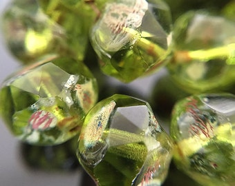 15 Green Central Cut Beads, Olivine Green Czech Glass Beads with Picasso, 8mm (CC-02)