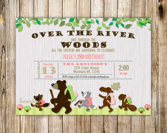 Little Critter Woodland Birthday Party Invitation, Forest Animals Girl Birthday Invite, Woodlands Typography, Any Age, DIY Digital Printable