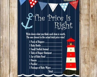 NAUTICAL PRICE is RIGHT Baby Shower Game, Nautical Baby Boy Shower Games, Navy Blue Baby Shower, Right Price, Diy Printable Instant Download