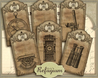 Vintage Steampunk Tags, Instant Download, Digital Collage Sheet/ printable Victorian