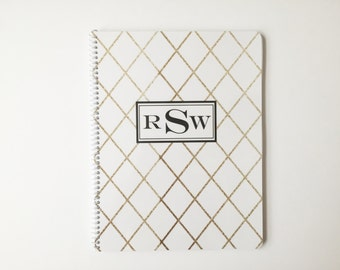 Personalized Gold Diamond Notebook, Name or Monogram