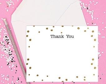 Gold Confetti Thank You Card Set