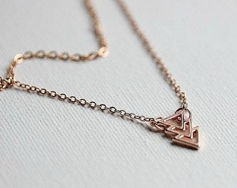 ROSE GOLD NECKLACE - Layered Necklace -  Chevron Charm -Rose Gold Chain - Layered Chevron Charm - Rose Gold