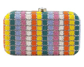 Handembroidered beaded clutch bag