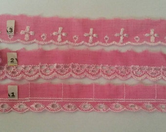 2 Yards PINK Lace Trim Scalloped Eyelet Lace Trim 1 Inch Wide Polyester
