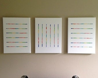 Abstract Acrylic Triptych Painting, Unique Contemporary String Art, White Canvas, Multi Colors