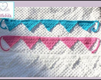 AQUA BLUE ONLY - Newborn Baby Crocheted Aqua Blue Banner/Bunting 130cm {inc. ties at each end}