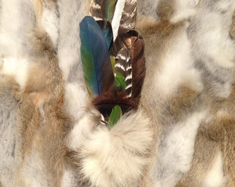 Ceremonial Feather Smudge Fan with Macaw Feathers & Antler