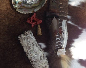 Ceremonial Feather Smudge Fan Large Kit with Skunk Fur, Geode, & Antler