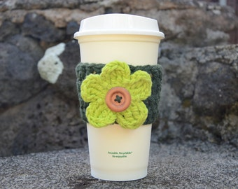 Basket Weave Coffee Cozy with Interchangeable flower - CHOOSE YOUR COLORS!