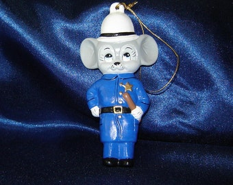 Mouse Cop Christmas Ornament with Blue Eyes - Policeman Ornaments - Cop Ornament - Ceramic Ornaments - Christmas Ornaments
