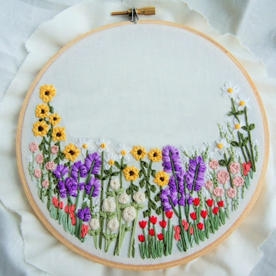 Items similar to custom flower embroidery hoop wildflower