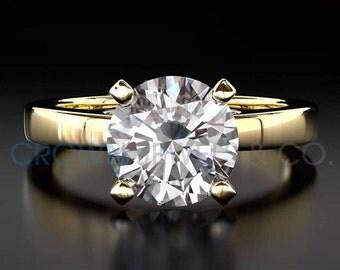 Solitaire Diamond Engagement Ring 18 Karat Yellow Gold D SI2 Round Brilliant Cut 1.7 Carat Women Diamond Ring