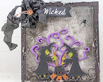 Shabby Chic Wicked Witches Halloween Card
