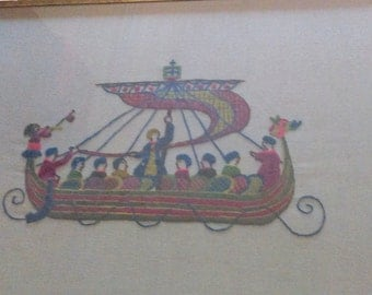 Vintage Framed Embroidered Viking Ship Wall Picture