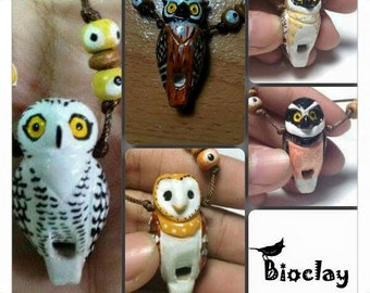 5 Owls bundle clay whistle necklace handmade Bioclay Thailand