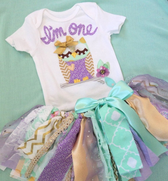 Owl 1st Birthday Outfit, Baby Girl Purple Mint Gold Owl