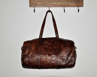 Vintage Style Handmade Dip Dye Leather Boston Handbag-Women's Barrel Travel Bag