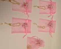 Baptism Christening Favors / Recuerdo Bautizo with Mini Small Rosary Decenario Recuerdito - Color WHITE PEARL with Organza Bag