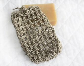 Ten Crocheted Hemp Soap Savers, Set of 10 Natural Hemp Soap Bags, Soap Pouches, Eco-friendly Soap Sacks, Exfoliating, Value Set