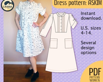 PDF dress pattern, instant  download, multi size! A Cool, retro style, A-line  with puff sleeves and a button up bib, for your DIY wardrobe