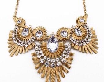 Statement Necklace, Rhinestone Necklace, Vintage Wedding, bridesmaid necklace, bib necklace. Crystal necklace,