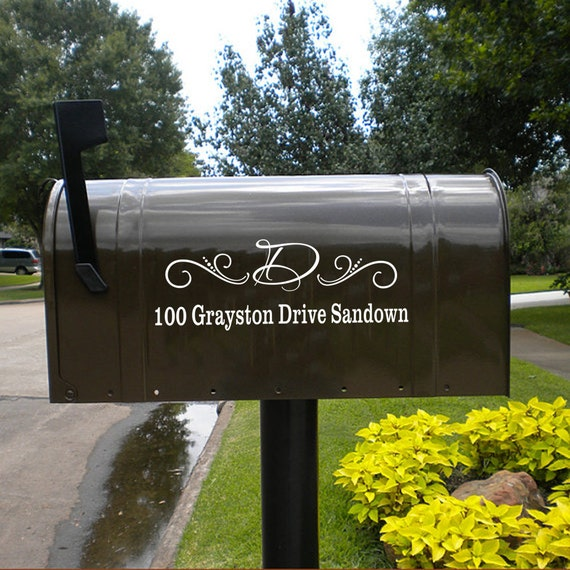 Mailbox Mongram Vinyl Decal-Street Address And Initial By
