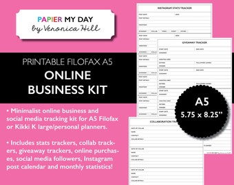 A5 Online Business and Social Media Kit - The Reset Girl Edition - Printable Social Media Kit for Filofax A5 and Kikki K Large Planners
