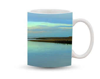 Peaceful Blue Coast Mug 11 oz Ceramic Photo Coffee Cup, Dusk Dawn Blue Ocean Water Clouds Scenic Landscape Shoreline Nature Nautical