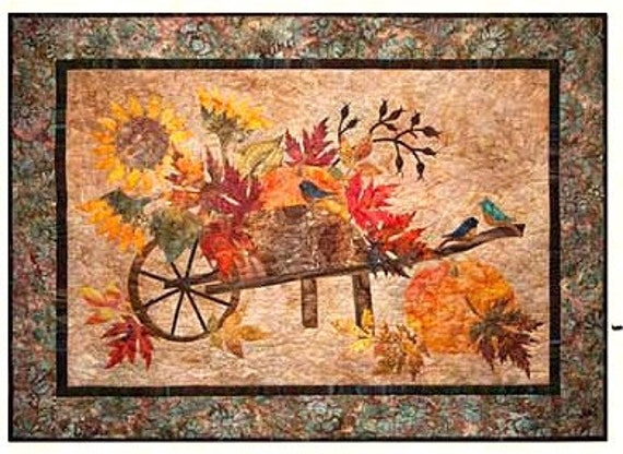 "HARVEST PUMPKIN Art Quilt Pattern by Laundry Basket Quilts - Edyta Sitar 38""x 28"""