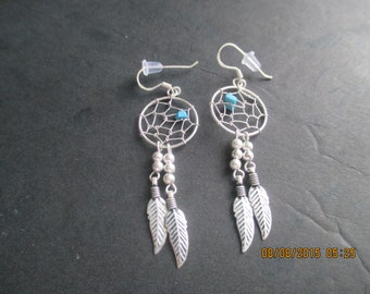 Dream Catcher Sterling Silver Earrings with Turquoise..Nice Look..New