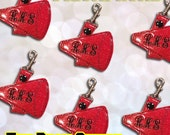 Embroidery Machine Download Design File - Megaphone Cheer Dance Tag Key Fob