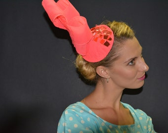 Hot Pink stoned fascinator