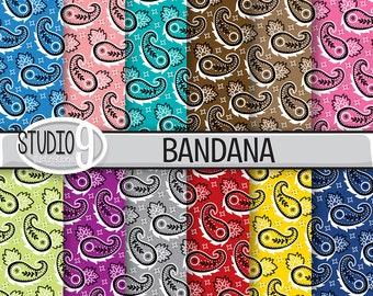 BANDANA Digital Paper: BANDANA Printable Patterns Pattern Print, Bandana Download, Bandana Backgrounds Bandana Scrapbook