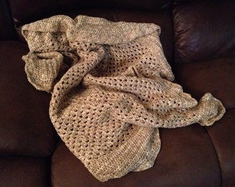 Small Crochet Throw; Brown, Tan, and Cream Colored, SALE, PRICE REDUCED