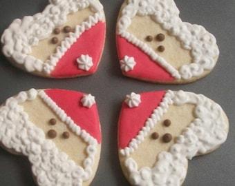 One dozen handmade Santa Sugar cookies