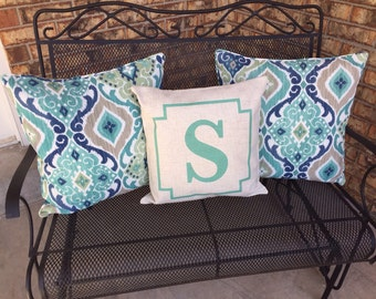 Custom Monogram Pillow Covers (Style: Stone)  43 color options