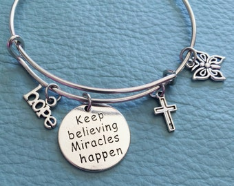 Miracles Happen Silver bracelet, Inspired Charm Bangle, Believe, Hope. Cross, Butterfly, Inspirational Gift for Someone Special, get well 4