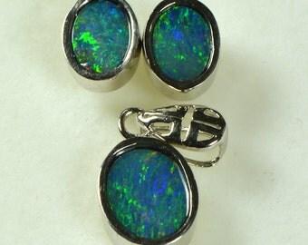 SALE: Opal Doublet Jewellery Set, sterling silver 925 earrings,OJDZ1006B1  YesOpal.com