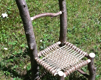 Twig Chair, cherry, with woven jute seat