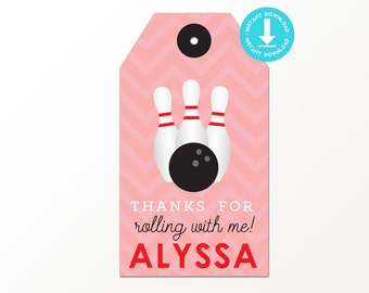 Girls Bowling Favor Tag - Printable Bowling Party Favor Tags by Printable Studio