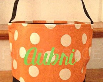 Halloween Cloth Basket with Polka Dots and Personalization