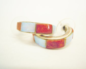 Southwest Orange and Turqouise  Coral and Opal Half  Hoop Post Earrings. Item #75
