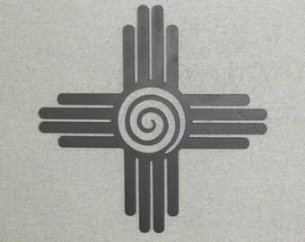 Large Southwest ZIA Spiral Sun Wood Wall Art Decor