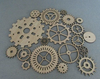 Lot of 19 Various size Wood Wooden Gears Steampunk Wall Art Decor