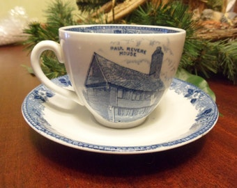 Staffordshire, By Alfred Meakin,Jonroth, Paul Revere House, Old Norh Church,  Made In England, Tea Cup And Saucer