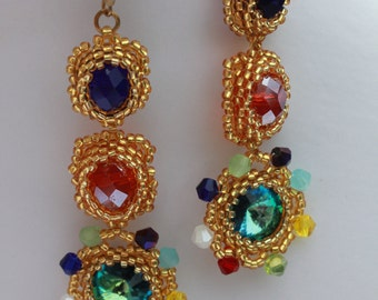 Bead Woven Earrings, Colorful Earrings, Chandelier Earrings, Seed bead earrings, Crystal earrings, made with love, for her