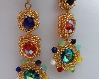 Rainbow Colorful Bead Woven Earrings Chandelier Seed bead earrings gift wife Crystal earrings made with love gypsy earrings Boho chandelier