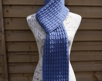 Hand Knitted Blue Shade Acrylic Scarf