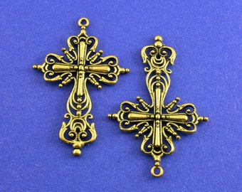 2 pcs -Large Ornate Crucifix Cross, Antiqued Gold Cross, Religious Symbol, Rosary Cross, 42.5x64mm